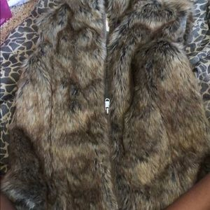 Brown fur vest with zipper from justice for kids